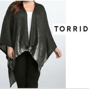 Torrid Metallic Marled Shine Ruana Wrap | One Size